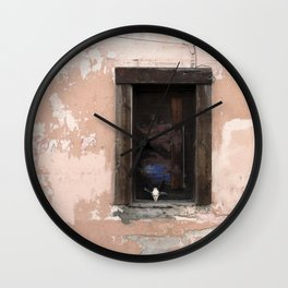 Western Window, deer skull, chippy paint, industrial art Wall Clock