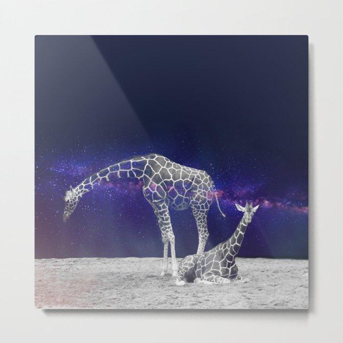 Giraffes on The Moon #society6 #artprints #buyart Metal Print