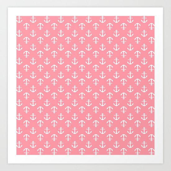 Pink Anchors Pattern Art Print