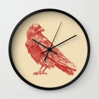 raven Wall Clocks featuring Red Raven  by Terry Fan