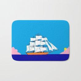 A Clipper Ship at Sunset, Pink clouds and Sun, Nautical Scene Bath Mat