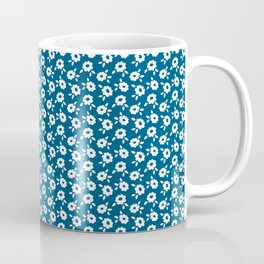 White flowers on indigo Coffee Mug