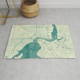 Jacksonville Map Blue Vintage Rug
