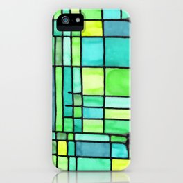 Green Frank Lloyd Wrightish Stained Glass iPhone Case