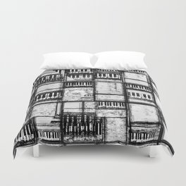 Musical beds black and white Duvet Cover