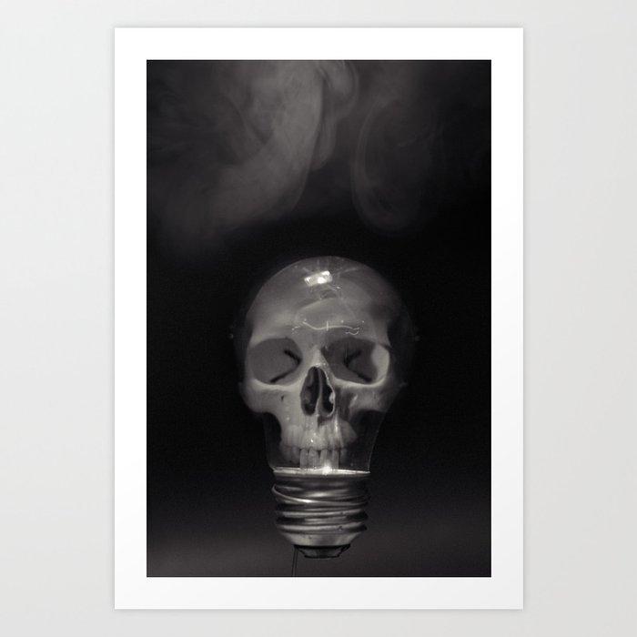 Skull Bulb Black and White Photograph Art Print