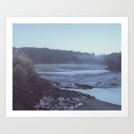 Foggy morning by the river Art Print