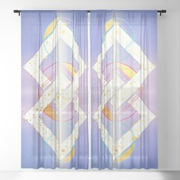 Linked Lilac Diamonds :: Floating Geometry Sheer Curtain