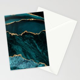 Teal Blue Emerald Marble Landscapes Stationery Cards