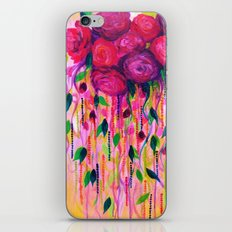ROSES ARE RAD 2- Bold Pink Red Roses Floral Bouquet Vines, Flower Abstract Acrylic Painting Fine Art iPhone & iPod Skin