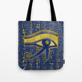 Gold Egyptian Eye of Horus - Wadjet Lapis Lazuli Tote Bag