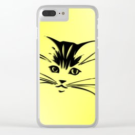 Light Cadmium Yellow Kitty Cat Face Clear iPhone Case
