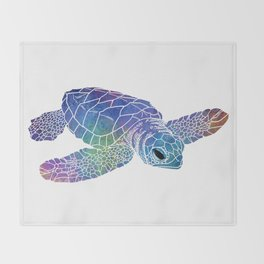 Colorful Sea Turtle I Throw Blanket
