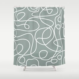 Doodle Line Art | White Lines on Medium Gray Green Shower Curtain
