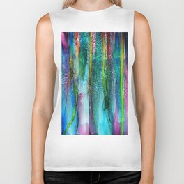 Rainbow Rain - Alcohol Ink Painting Biker Tank