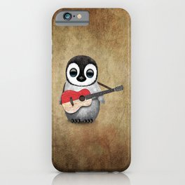 Baby Penguin Playing Indonesian Flag Acoustic Guitar iPhone Case