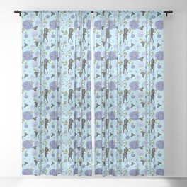 Cute Black Greyhounds on Blue Floral Chinoiserie Pattern Sheer Curtain