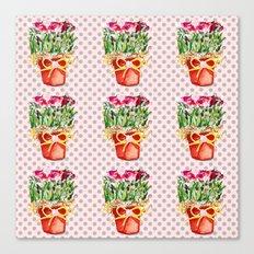 Polka Dots and Pots of Dried Roses Canvas Print