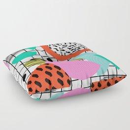 Posse - 1980's style throwback retro neon grid pattern shapes 80's memphis design neon pop art Floor Pillow