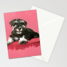 Miniature Schnauzer Puppy Watercolor Digital Art Stationery Cards