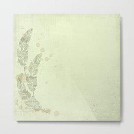 Woodland Fairytale:  Shabby green feathers on celadon Metal Print