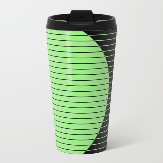 Opposites Attract (Abstract, green and black, geometric design) Metal Travel Mug