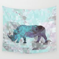 rhino Wall Tapestries featuring Rhino by Dnzsea