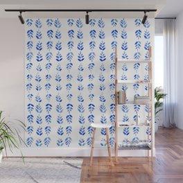 Indigo Blossom - nature watercolour pattern Wall Mural
