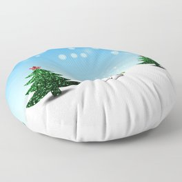 Cool Snowman and Sparkly Christmas Trees Floor Pillow