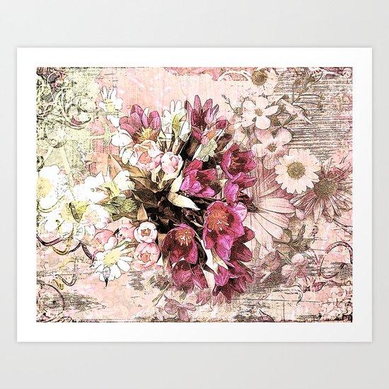 Vintage valentine bouquet on worn wood Art Print