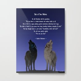 Tale of Two Wolves Metal Print