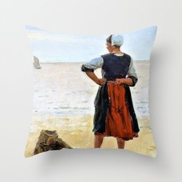 Beach scene from Bretagne. A young fisherwoman is looking at the sea - Digital Remastered Edition Throw Pillow