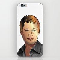 brad pitt iPhone & iPod Skins featuring Portrait of Brad Pitt by Christian Simonian