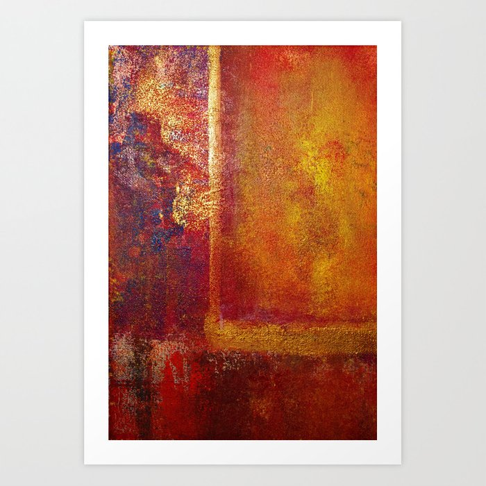 Abstract Art Color Fields Orange Red Yellow Gold by Philip Bowman Art Print