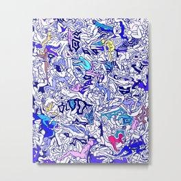 Kamasutra LOVE - Indigo Blue Metal Print