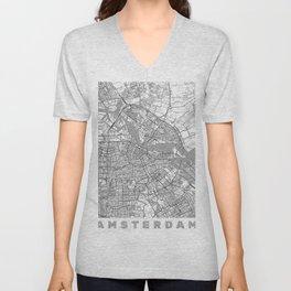 Amsterdam Map Line Unisex V-Neck