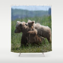 Alaska Grizzly Mother And A Cub In Katmai National Park Shower Curtain