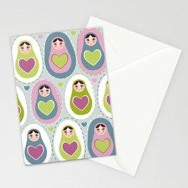 matryoshka with heart Stationery Cards
