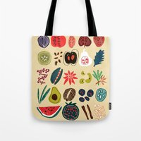 spice Tote Bags featuring Fruit and Spice Rack by Picomodi