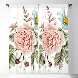 Rose and Foxglove Watercolor Florals Blackout Curtain