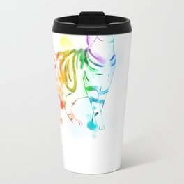 Rainbow Painted Cat Travel Mug