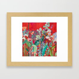 Floral Jungle on Red with Proteas, Eucalyptus and Birds of Paradise Framed Art Print