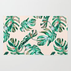 Tropical Palm Leaves Coral Greenery Rug
