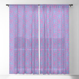 Geometrical abstract pink teal stripes squares pattern Sheer Curtain