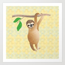 Baby Sloth Just Hanging Out Art Print