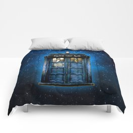 Beautiful tardis with yellow stained glass windows Comforters