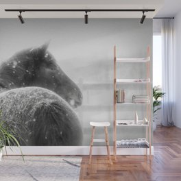 Horse in Winter when Snowing Painting Style Wall Mural