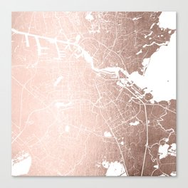 Amsterdam Rosegold on White Street Map Canvas Print