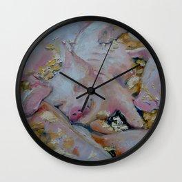 Pig Pile by Nancy McGrath Wall Clock