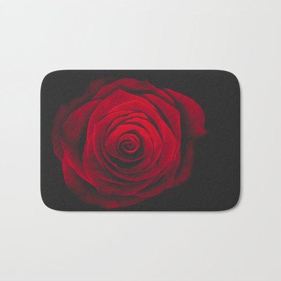 Red rose on black background vintage effect Bath Mat